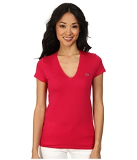 Lacoste Short Sleeve Classic V Neck Tee Raspberry Sorbet Women's T Shirt Red