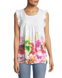 Cynthia Steffe Pleated Front Floral Blouse Multi