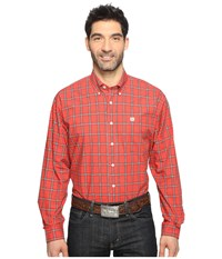Cinch Long Sleeve Plain Weave Plaid Red Men's Long Sleeve Button Up
