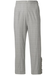 I'm Isola Marras Cropped Ruffled Grid Print Trousers Grey