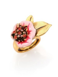 Oscar De La Renta Painted Flower Ring Gold Pink