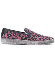 Marc Jacobs Distressed Leopard Print Sneakers Men Cotton Leather Rubber 45 Pink Purple