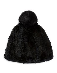 Adrienne Landau Fox Fur Pom Pom Accented Rabbit Fur Beanie Hat Black
