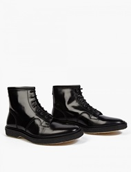 Adieu Black Leather Type 22 Lace Up Boots