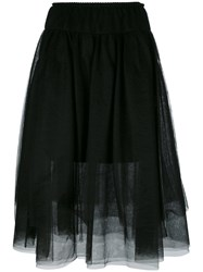 Twin Set Sheer A Line Skirt Black