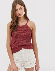 Mango Knitted Vest Top In Red