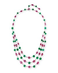 Alexander Laut Three Strand 18K White Gold Pink Topaz And Emerald Necklace With Diamonds
