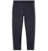 Theory Midnight Blue Tapered Piped Tech Jersey Trousers Navy