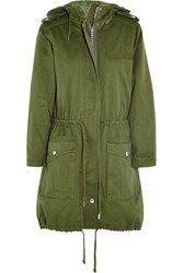 Marc By Marc Jacobs Cotton Twill Hooded Parka Green