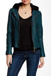 Doma Washed Hooded Genuine Leather Jacket Green