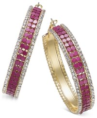 Thalia Sodi Gold Tone Metal Mesh And Crystal Hoop Earrings Only At Macy's Berry