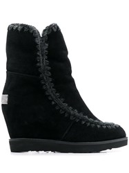 Mou French Toe Wedge Short Boots Black