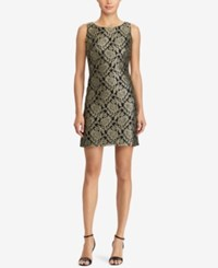 American Living Metallic Lace Dress Gold