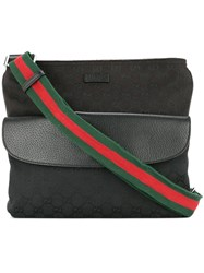 Gucci Vintage Shelly Line Gg Shoulder Bag Black
