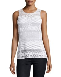 Laundry By Shelli Segal Floral Diamond Lace Tank Optic White