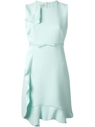 Giambattista Valli Ruffle Detail Dress Blue