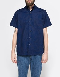 The Hill Side Tropical Leaves Standard Shirt Indigo