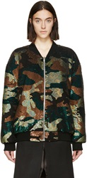 Ashish Green And Black Sequined Camo Bomber Jacket