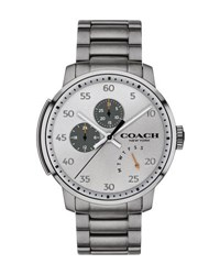 Coach 42Mm Men's Bleecker Leather Watch Gray