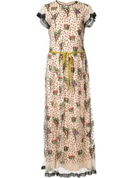 Red Valentino Floral Embroidery Long Dress Nude Neutrals