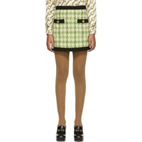 Gucci Green And Off White Tweed Miniskirt