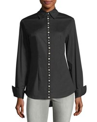 Neiman Marcus Pearlescent Button Down Top Black