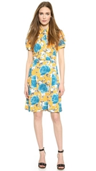 Marc By Marc Jacobs Jerrie Rose Crepe Dress Yellow Jacket Multi