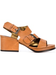 Robert Clergerie Chunky Heel Buckled Sandals Brown