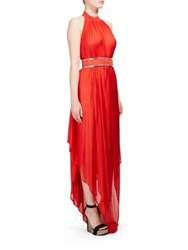 Balmain Belted Halter Gown Red