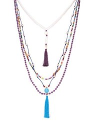 Design Lab Lord And Taylor Tassel Beads Multi Strand Necklace
