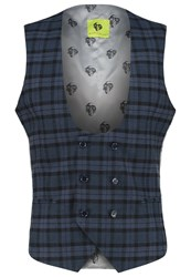 Noose And Monkey Hogarth Suit Waistcoat Navy Dark Blue