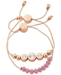 Guess Rose Gold Tone 2 Pc. Set Crystal And Bead Slider Bracelets