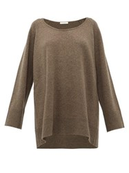 The Row Damian Scoop Neck Wool Blend Sweater Light Brown