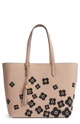 Cole Haan Payson Floral Applique Rfid Leather Tote Beige Nude Black