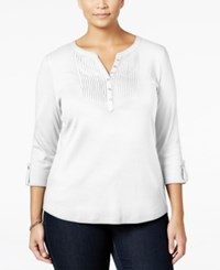 Karen Scott Plus Size Pintucked Henley Top Only At Macy's Bright White