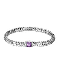 Classic Chain 6.5Mm Small Braided Silver Bracelet Amethyst John Hardy Purple