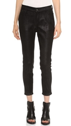 Rag And Bone Dash Slouchy Leather Trousers Black Suede