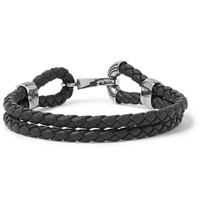 Bottega Veneta Intrecciato Leather Oxidised Silver Tone Bracelet Black