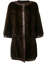 Gianfranco Ferre Vintage Vintage Midi Trimmed Coat Brown