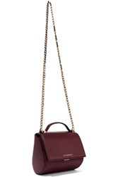 Givenchy Pandora Box Shoulder Bag In Burgundy Textured Leather
