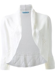 Guild Prime Ribbed Lace Detail Cropped Cardigan White