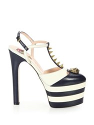 Gucci Angel Spiked Leather Platform Pumps Blue White