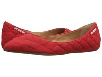 Love Moschino Fabric Quilted Flats Red Women's Flat Shoes