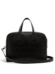 Burberry Logo Debossed Grained Leather Bag Black