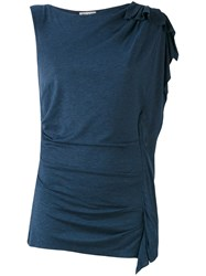 Paul And Joe One Shoulder T Shirt Women Silk Polyamide 1 Blue