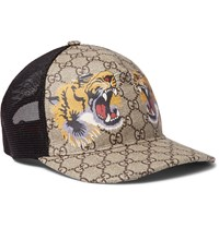 Gucci Supreme Printed Coated Canvas And Mesh Baseball Cap Brown