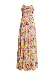 Etro Cassiopea Floral Print Ruched Maxi Dress Pink Print