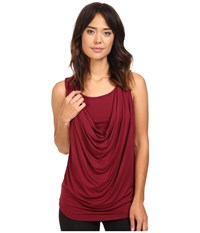 Christin Michaels Freida Sleeveless Cowl Neck Top With Built In Camisole Wine Women's Sleeveless Burgundy