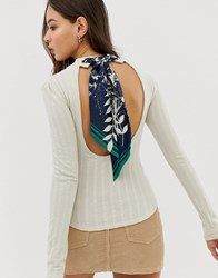Free People Party In The Back Ribbon Top Cream