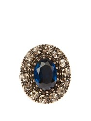 Alexander Mcqueen Crystal Embellished Ring Navy